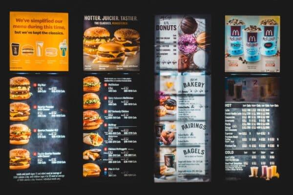 Menu comida pantalla cartel electrónico